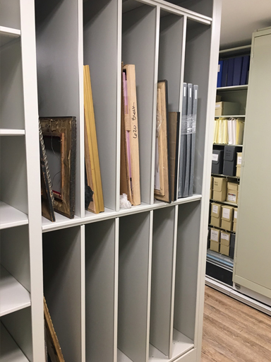 historical art storage shelving