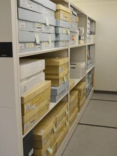 museum archival boxes, storage on mobile system