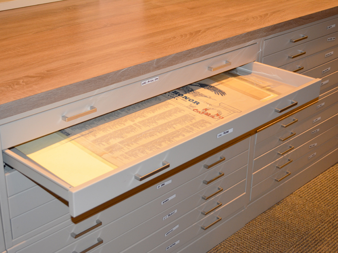 history papers in flat file cabinet